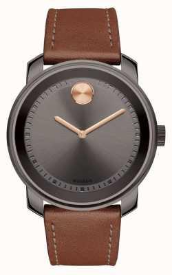 Movado Жирный мужской коричневый кожаный ремешок серый циферблат 3600378