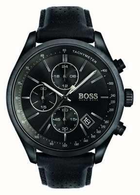 Hugo Boss Мужская гран-при хронограф черный кожаный ремешок черный циферблат 1513474