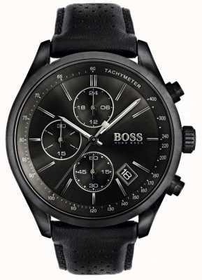 Boss Мужской гран-при хронограф черный кожаный ремешок черный циферблат 1513474