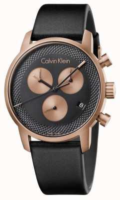 Calvin Klein Мужская городская хронограф синий циферблат черная кожа K2G17TC1