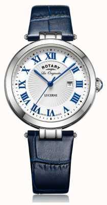 Rotary Женская люцерна синяя кожаный ремешок белый циферблат LS90197/01L