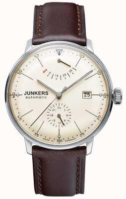 Junkers Mens bauhaus автоматический коричневый кожаный ремешок бежевый циферблат 6060-5
