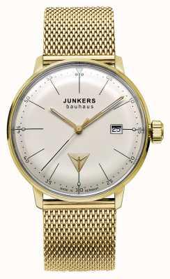 Junkers Mens bauhaus золотой тон из нержавеющей стали сетка бежевый циферблат 6072M-5