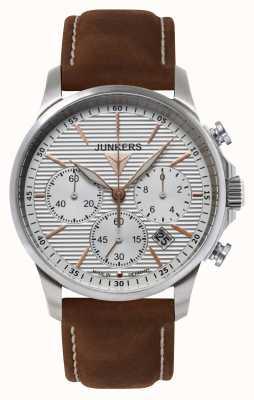 Junkers Mens tante ju хронограф коричневый кожаный ремешок серебристый циферблат 6878-4