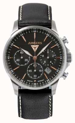 Junkers Mens tante ju хронограф черный кожаный ремешок черный циферблат 6878-5