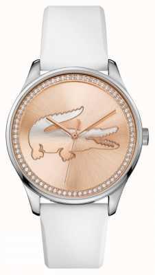Lacoste Женщины белый силиконовый ремешок розового золота камень набор циферблат 2000969
