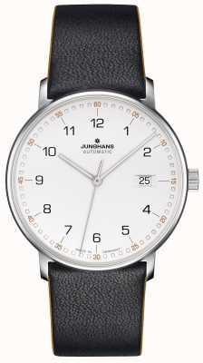 Junghans Создайте черный ремень из телячьей кожи с цифрами 027/4731.00