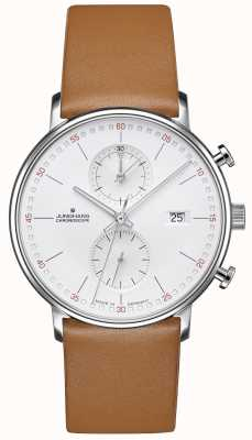Junghans Форма c хроноскоп телячьей кожи коричневый ремешок 041/4774.00