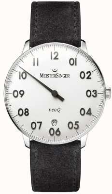 MeisterSinger Мужская форма и стиль neo q из нержавеющей стали и черной замши NQ901N
