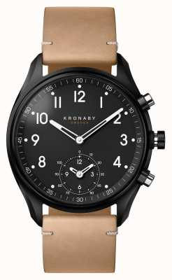 Kronaby 43mm apex bluetooth black pvd case / beige leather smartwatch A1000-0730