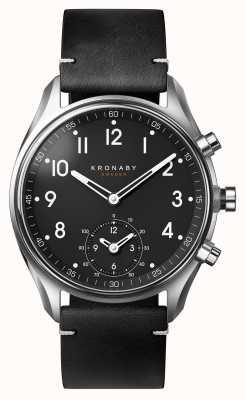 Kronaby 43мм апекс bluetooth черный кожаный ремешок a1000-1399 S1399/1