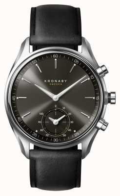Kronaby 43mm sekel bluetooth черный циферблат / кожаный ремешок smartwatch A1000-0718