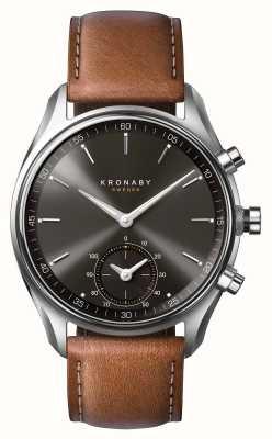 Kronaby 43мм секел блютуз коричневый кожаный черный циферблат a1000-0719 S0719/1