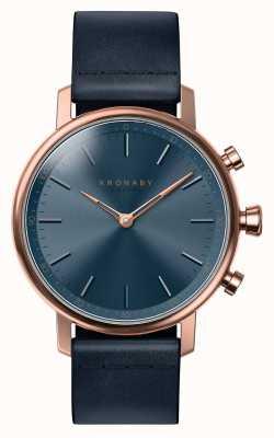 Kronaby 38mm carat bluetooth rose gold синяя кожа smartwatch A1000-0669
