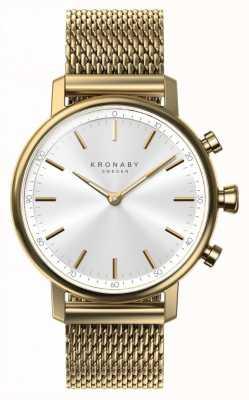 Kronaby 38мм карата bluetooth золотой сетчатый ремень smartwatch A1000-0716