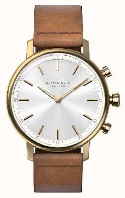 Kronaby 38мм каратный Bluetooth коричневый кожаный ремешок smartwatch A1000-0717
