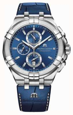 Maurice Lacroix Мужская aikon синий хронограф синий кожаный ремешок AI1018-SS001-430-1