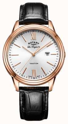 Rotary Мужская традиция швейцарского производства pvd розового золота кожаный ремешок GS90196/01