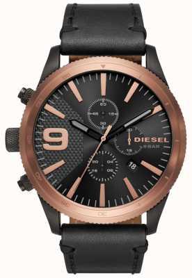 Diesel Мужские серьги с хроновым розовым золотом / черные часы DZ4445