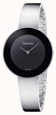Calvin Klein Женщин шикарная нержавеющая сталь bangle черный циферблат K7N23C41