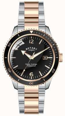 Rotary Мужские океанские мстители двухтональный черный циферблат GB02695/04