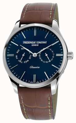 Frederique Constant Мужская классика кварцевый коричневый кожаный ремешок синий циферблат FC-259NT5B6