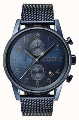 Hugo Boss Mens navigator синий хронограф сетка металлические часы 1513538