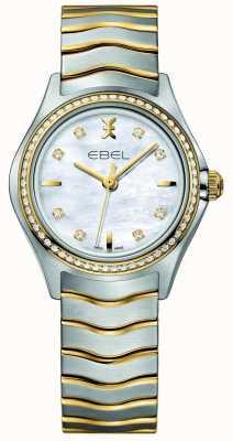EBEL Волна дамы двухцветный бриллиант установить часы 1216351