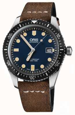 Oris Дайверы шестьдесят пять автоматических коричневый кожаный ремешок синий циферблат 01 733 7720 4055-07 5 21 02