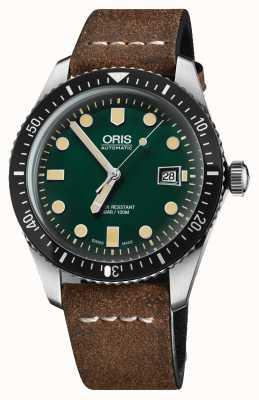 Oris Дайверы шестьдесят пять автоматических коричневый кожаный ремешок зеленый циферблат 01 733 7720 4057-07 5 21 02