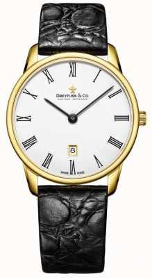 Dreyfuss Mens 1980 кожаный ремешок позолоченные часы DGS00136/01