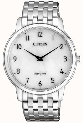 Citizen Мужские ультратонкие часы с белым циферблатом из нержавеющей стали на шпильке AR1130-81A