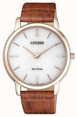 Citizen Мужской eco-drive stiletto ультратонкий коричневый кожаный ремешок AR1133-15A
