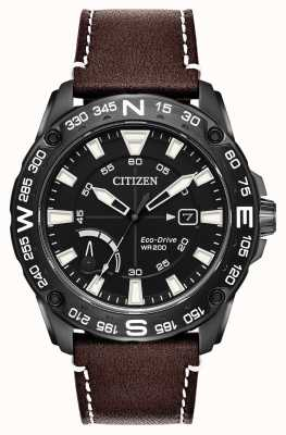 Citizen Резервный запас ремня коричневого кожаного эко-привода AW7045-09E