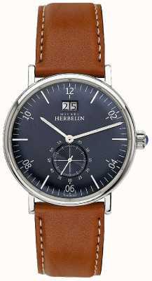 Michel Herbelin Мужской вдохновение 1947 коричневый кожаный ремешок синий циферблат 18247/15GO
