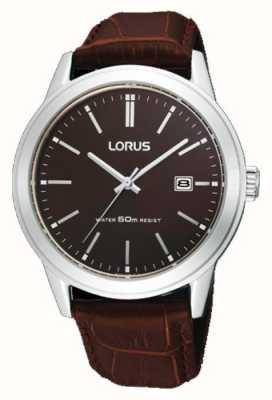 Lorus Мужские коричневые часы с кожаным ремешком 38м RH925BX9