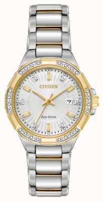 Citizen Женские бриллианты из нержавеющей стали с двумя тонами из нержавеющей стали EW2464-55A