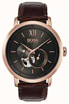 Boss Мужские подписные автоматические коричневые кожаные часы 1513506