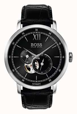 Hugo Boss Мужские подписи автоматические черные кожаные часы 1513504