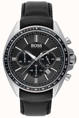 Hugo Boss Мужской спортивный черный кожаный хронограф 1513085