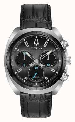 Bulova | кривая | мужские | хронограф | черный кожаный ремешок | 98A155