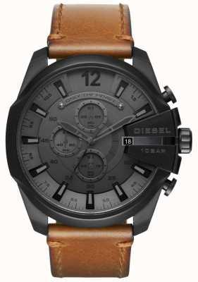 Diesel Мужские мега-главные часы с черным циферблатом коричневого кожаного ремешка DZ4463
