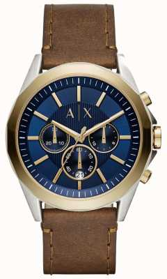 Armani Exchange Мужской синий хронограф коричневый кожаный ремешок AX2612