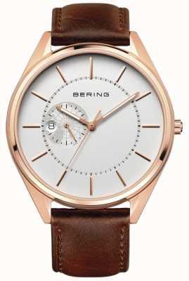 Bering Мужской автоматический коричневый кожаный ремешок 16243-564