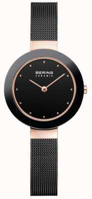 Bering Женский керамический черный миланский ремешок 11429-166
