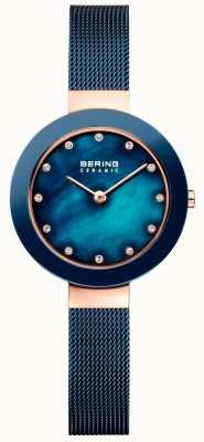 Bering Женский керамический синий миланский ремешок 11429-367