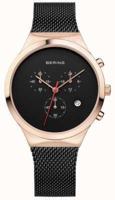 Bering Мужской черный черный хронограф черный миланский ремешок 14736-166
