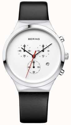 Bering Мужской классический белый хронограф черный кожаный ремешок 14736-404