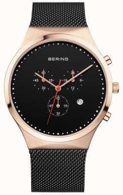 Bering Мужской черный черный хронограф черный миланский ремешок 14740-166