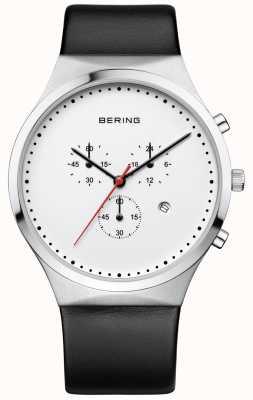 Bering Мужской классический белый хронограф черный кожаный ремешок 14740-404